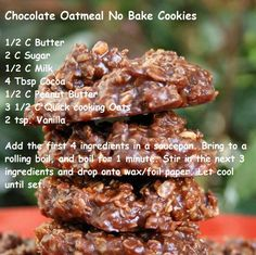 chocolate oatmeal no -bake cookies