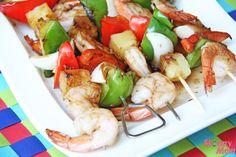 kabobs, grill recipes, shrimp recip, healthi, pineappl shrimp
