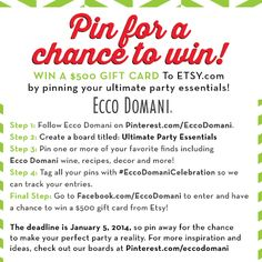Ever wished you could get rewarded for all your beautiful #party boards on #Pinterest? We've heard your plea. http://on.fb.me/1bywZ0i #facebook #eccodomani