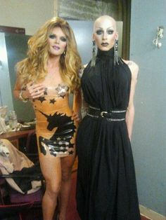 Willam and The Princess back stage at the finale of RuPauls Drag Race.  We worked with Willam on the custom transparent flesh, unicorn dress.  We loved the way it came out.