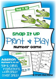 Snap It UP  FREE Print and Play Addition Game
