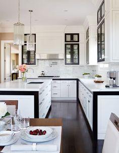 black + white kitchen design by Brian Gluckstein interior design, walnut, black white, homes, modern kitchens, white cabinets, dream kitchens, kitchen designs, white kitchens