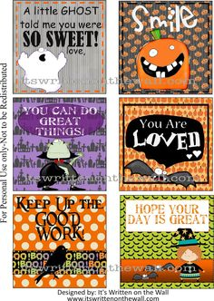 (Freebie) 24 Halloween themed lunchbox notes PLUS 12 Brand New everyday lunchbox notes-A gift from us to you!