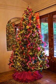 ribbon garland, christmas colors, ribbons, christma decor, christma tree, pink, garlands, fan, christmas trees