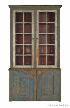 "$2280  Pennsylvania painted pine step-back cupboard, 19th c., retaining an old blue surface, 81 1/2"" h., 44"" w."