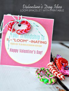Easy Rainbow Loom Printable Valentines come in 4 colors!