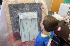 PreK Weather Unit-Using eye droppers to build fine motor control while making a rainy day poster! The Kids LOVED this one!