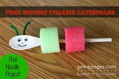 Pool Noodle Syllable Caterpillar for #preschool and #kindergarten