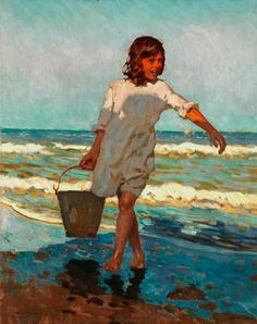 beach paintings, spanish art, alberto pla, color, spanish painter, laundry rooms, at the beach, rubio 18671937, young girls