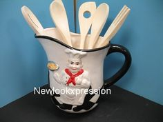 3D Italian FAT chef utensil holder Kitchen Decor BISTRO home bar set cooking NU. | eBay