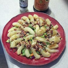Pear Pecan Salad-- Very Quick and pretty in less than five minutes!