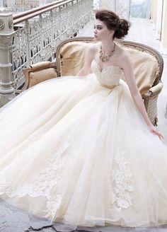 bridalparade:    Lace and chiffon ball gown style wedding dress.