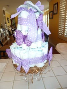 Lavender diaper cake for my friend Kim's baby shower she had twins!!