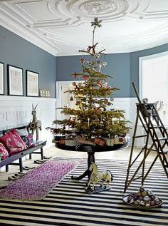 10 Simple Christmas Decorating Ideas for Small Spaces  If having a tree is an absolute necessity, try a compact tabletop version. In this photo (from Elle Decor via Home Goods) a round table is the perfect perch for a petite tree.