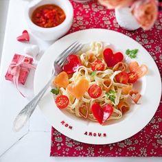 Des pâtes aux légumes en cœur // pasta, vegetables, heart, cute, love