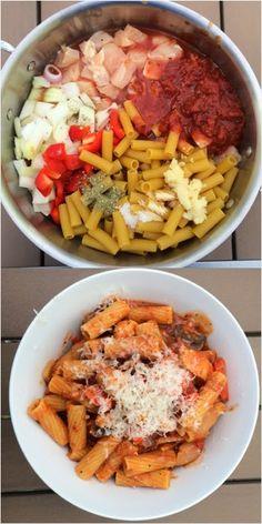 One Pot Wonder Pasta: Chicken Rigatoni. With GF pasta of course :)