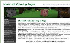 MinecraftColoringPages.com website screenshot