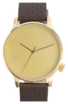 strap watch, round leather, leather strap, komono winston