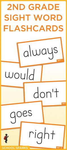Free second grade Dolch sight word flashcards. Each page contains eight sight word flashcards.
