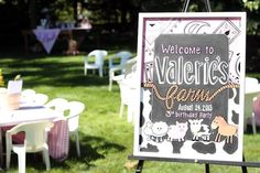 Darling Welcome Sign from this Farm Girl Themed Birthday Party with Lots of Cute Ideas via Kara's Party Ideas KarasPartyIdeas.com #farmparty #farmgirl #partydecor #karaspa...