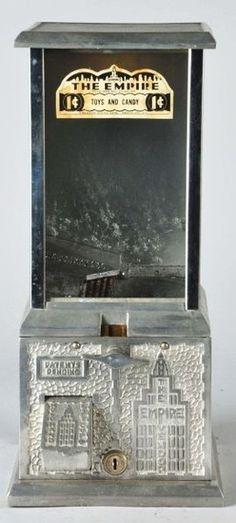 Robbins, Empire Vendor, Cast Aluminum, Chrome, 1 Cent.The Empire countertop vending machine made by the A. D