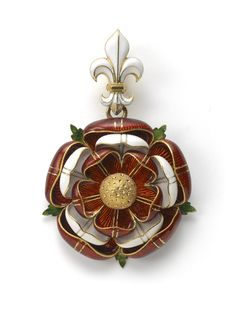 A Gold and Enamel Pendant by Robert Phillips In the form of the Tudor Rose, executed in red and white enamel, highlighted with stylized green enamel leaves which radiate from the back, the whole suspended from a white enamel Fleur d'lys.