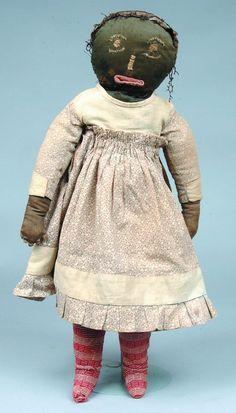 Very Good Folky Black Americana Cloth Doll