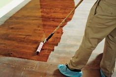Learn how to easily refinish your hardwood floors with this #DIY