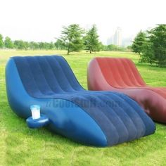 Inflatable outdoor sofa, only $27! Perfect for laying out when you don't have a pool!