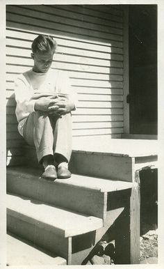1940s Young Man Reading Book On Steps / collection of Christian Montone