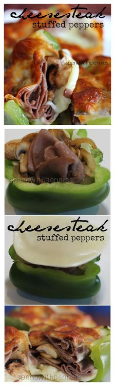 Cheesesteak Stuffed Peppers!  These are one of my favorite lunches ! Super quick, easy and delicious!