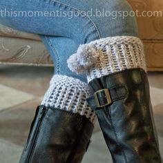 LOOM KNIT BOOT/TOPPERS. Patterns included. thismomentisgood.blogspot.com. #loomknitting #scarf #knits craft, knitted boot cuffs, loomknit, crochet project, cuff pattern, boots, knit patterns, knit boot cuff, loom knit