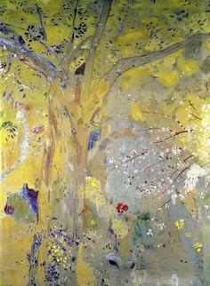 sur fond, odilon redon, backgrounds, art, yellow background, 1901, trees, redon french, yellow tree