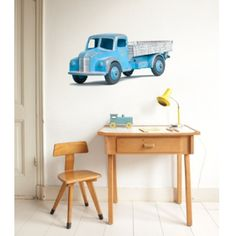 grote muurstick, kidroom, kid bedroom, vintage trucks, muurstick vintag
