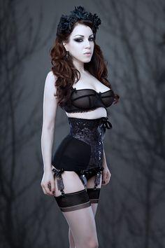 Morgana Femme Couture Raschel lace powermesh longline underbust corset
