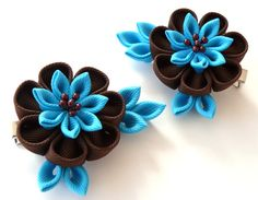 Kanzashi  Fabric Flowers Set of 2 hair clips Brown and by JuLVa, $13.50