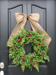 Live Christmas wreath with berries