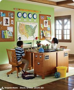 lovely, map, wall more for visual than learning, two children, desks