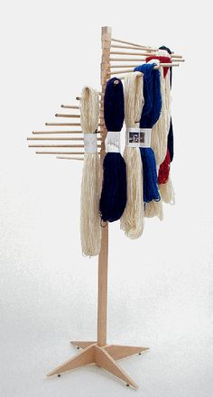 Hardwood spindle racks for yarn display & storage