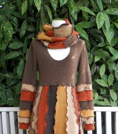 Recycled Sweater Dress with Scarf Cashmere Wool Natural Colors Ready to Ship Upcycled Clothing