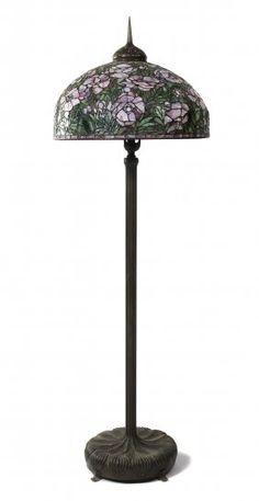 American Leaded Glass and Bronze Floor Lamp