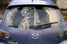 Just dust on your car, or isn't? --> #Art #StencilArt #SprayPaint #CarArt