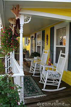 White rockers on against a bright yellow background via Dreams Time. #porch country porches, rockers, backdrops, rocking chairs, summer porch, southern porches, yellow houses, rock chair, front porches