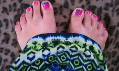 Pedicure pink turquoise/teal cheetah print nails (salon perfect nail polish) cute nail design #Awsome maxi dress