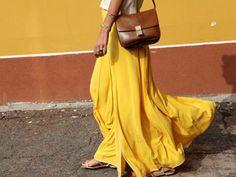 yellow maxi skirt.