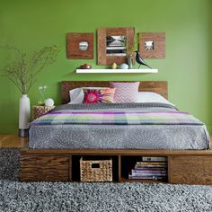 Platform Bed -- This bed, made from mostly plywood, is affordable, customizable, and something you can build this weekend and finish the next. The plans include all the dimensions you need for a twin-, full-, queen-, or king-size mattress (no need for box springs with this platform bed).