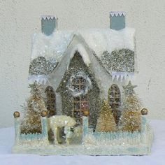 Blue and White Glitter House