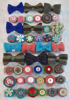 """Recycled wool (felted sweaters) doggie bow ties and button """"bows"""". I just sewed a small loop of elastic on the back of each of them, so I can slide them onto their collars."""