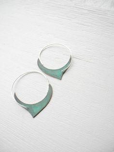 FREE SHIPPING - Verdigris Hoop Earrings - Damasque -  handmade brass sterling silver hoops, tribal, geometric, blue green verdigris patina