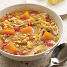 healthy turkey and squash soup! love butternut squash!